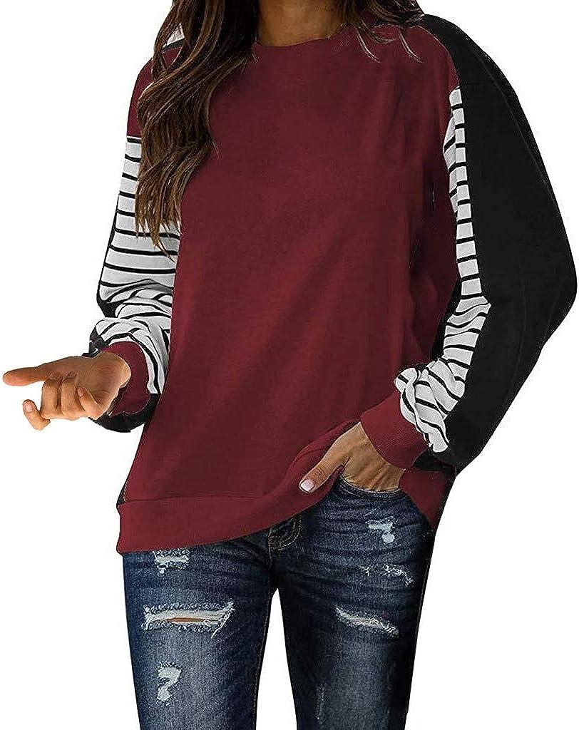 XUETON Women Casual Shirt Color Choice Long Striped Max 59% OFF Sleeve Block Crewne
