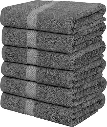 Utopia Towels Medium Cotton Towels, Gray, 24 x 48 Inches Towels for Pool, Spa, and Gym Lightweight and Highly Absorbent Quick Drying Towels, (Pack of 6)