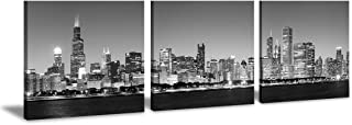 Chicago Wall Art Skyline Canvas Decor Black and White Paintings Philadelphia Atlanta Pittsburgh Modern 3 Piece Cityscape Artwork Print Painting for Living Room Office Bedroom Decoration Wood Framed