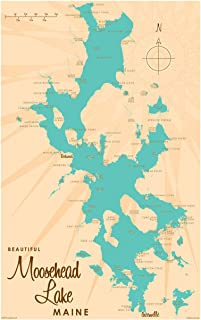 Moosehead Lake Maine Vintage-Style Map Art Print Poster by Lakebound (12