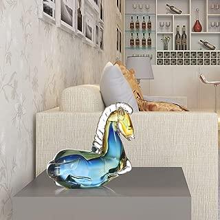 TUKURIO Home Decor Statue Blue Fantastic Horse Glass Sculpture Modern Animal Figurine Feng Shui Ornament Gift Craft Decoration