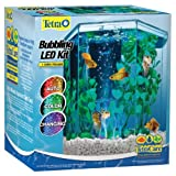 Tetra Bubbling LED aquarium Kit 1 Gallon, Hexagon Shape, With Color-Changing Light Disc (29040-00)