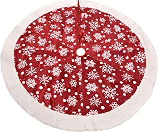 BESTOYARD Christmas Tree Skirt Snowflakes Pattern Holiday Tree Apron Xmas Tree Mat Cover 36inch (Red)