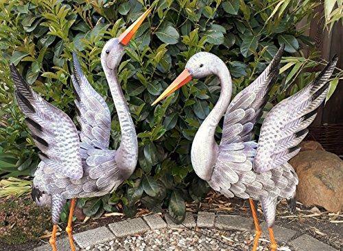 Gartenfigur 2er Set Kranich Metall Bunt Tier Vogel Teichdeko Teichfigur Garten Figur Teich Höhe 92cm+80cm Deko