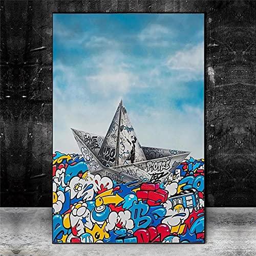 Pintura en lienzo Graffiti Papel Origami Barco Navegación Póster Artístico Impresión Sala de estar Moda Arte de la pared Imagen Cuadros-30X60cm Sin marco