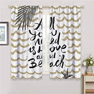 Quotes Decor Collection All season insulation All You Need is Love and Beach Palm Tree Island Exotic Journey Traveling Joy Image Noise reduction curtain panel living room W72 x L72 Inch Ivory Black