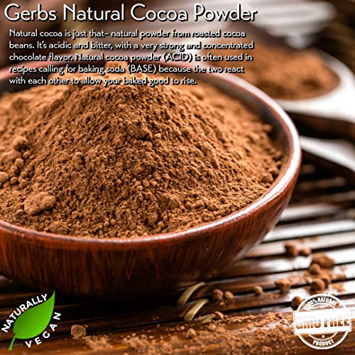GERBS Dutch Cocoa Powder, 16 ounce Bag, Top 14 Food Allergen Free, Fair Trade, Non GMO,, Vegan