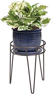 mDesign Midcentury Modern Flower Pot Stand - Metal Succulent and Plant Pot Holder - Minimalist Outdoor & Indoor Plant Hold...