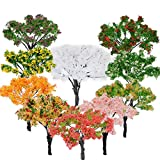 BESTZY 10PCS Model Trees Mixed Model Tree Diorama Tree Train Trees Railroad Scenery for DIY Scenery Landscape Natural Green(65mm)
