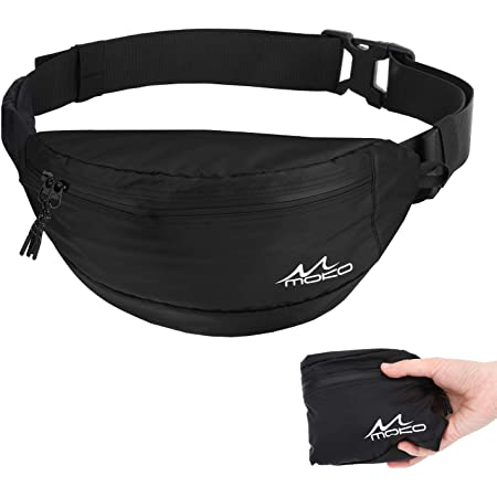 Loveternal Unisex Bum Bag Fanny Waterproof Waist Pack PU Coating Lightweight Large Capacity With Headphone Hole Travel Fashion Hiking Running Belt Bag for Outdoors Holiday Festival