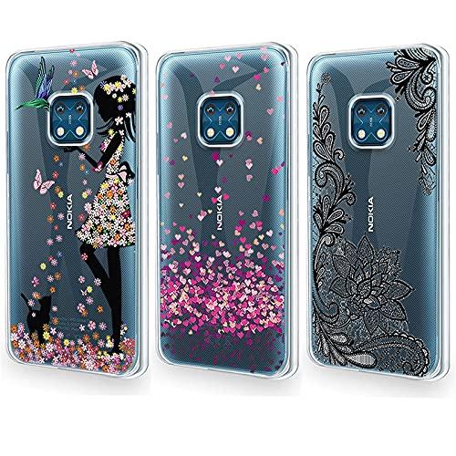 QFSM 3 Pack Cover per Nokia XR20 Trasparente Stile Semplice Guscio Silicone Morbido TPU Case Soft Shell Skin Protezione Custodia - Bella Ragazza + Amore + Fiore Nero