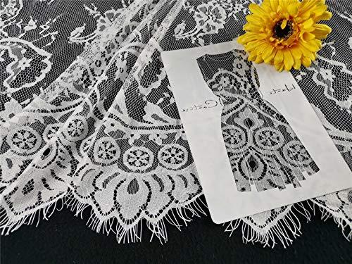 Tela de encaje con estampado de flores, tela de encaje con bordado, decoración de tul retro, joyas para novia, vestidos, cortinas, 300 cm x 150 cm / 300 cm x 110 cm (blanco, 300 x 150)