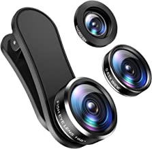 (2020 New) Phone Camera Lens, 198°Fisheye Lens, 15X Macro Lens and 0.63X Wide Angle (Screwed Together), Clip on Cell Phone Lens Kit for TIK Tok Video, Compatible with iPhone, Most Android Phones