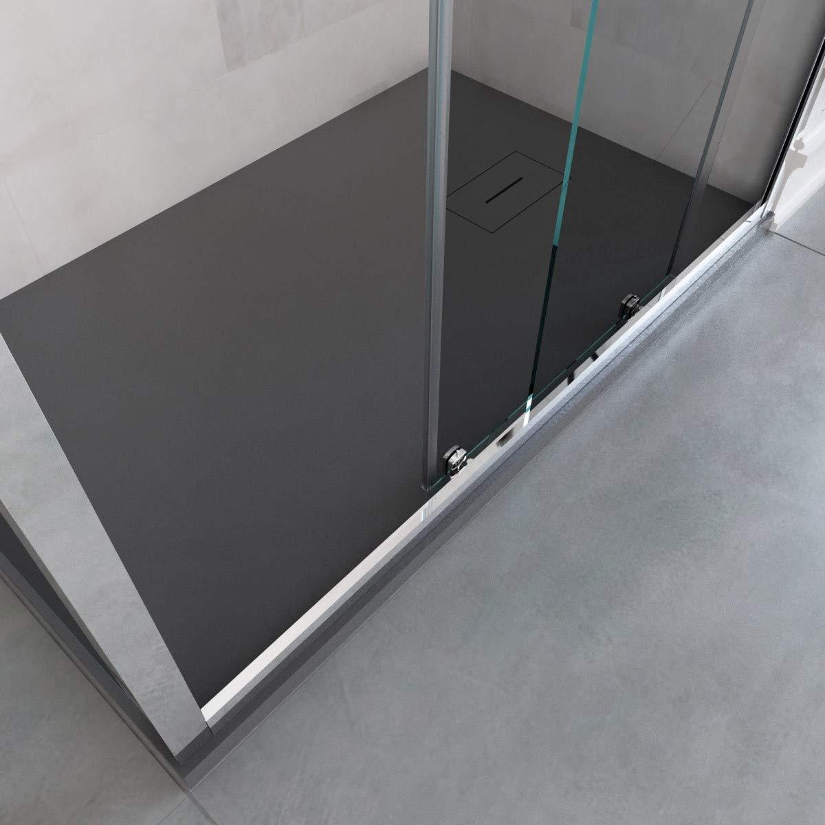 Olimpo - Mampara de Ducha de Tres Lados H195, con una Puerta corredera de Cristal translúcido ágata: Amazon.es: Hogar