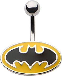 DC Comics Belly Button Ring Navel 316L Surgical Steel, Logo, Dangle, Batman Body Jewelry