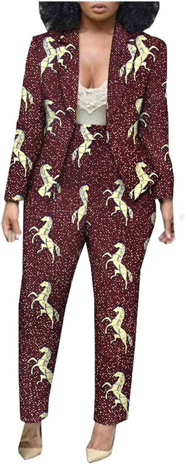 African Ankara Print Ofice Lady Suit Tailor Made Full Sleeve Jacket+ Full Length Pants 100% Batik Cotton Made AA1826030