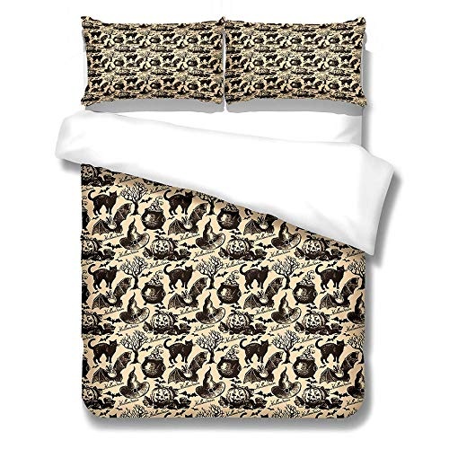 iCoCofly 3 Pieces Bedding Set with Zipper Closure Duvet Cover with 2 Pillowcases Hypoallergenic Soft Microfiber Pillowcase for Unique Bedding for Kids and Adults - Cat and bat,Super king 260x220cm