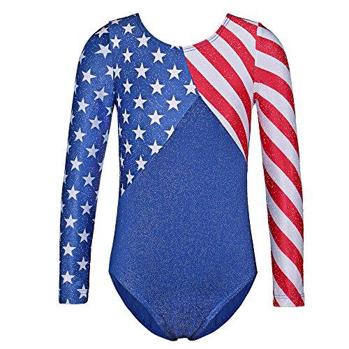 TFJH E One-Piece Girls Gymnastics Leotards Toddler Long Sleeve USA Flag 146 Star 12A