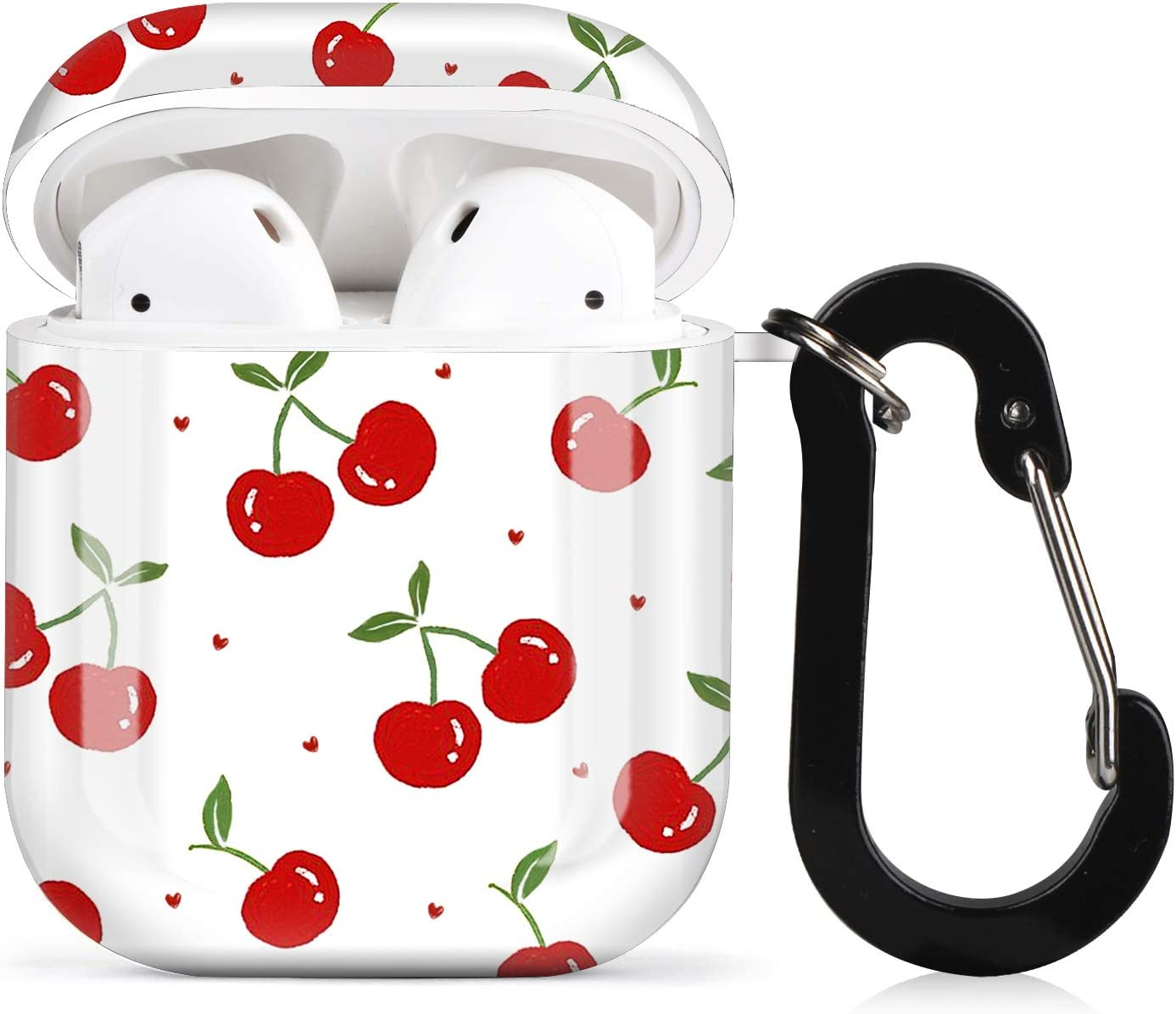 Lapac AirPods Case Cherry Cute Airpod Cover Skin Vintage Cherry for Girl Women Accessories Protective Hard Case with Keychain Anti Lost for Wireless AirPod 1&2 Charging Cartoon Summer Sweet Red Fruit