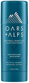 Oars + Alps Natural Face Wash with Activated Charcoal, Exfoliating Facial Cleanser Fights Blackheads and Acne, Travel Siz...