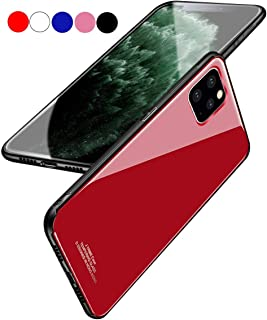 Chengming Compatible with iPhone Xs Tempered Glass Case,Tempered Glass Back Cover + TPU Frame Hybrid Case Slim Case Anti-Scratch Anti-Drop (Red, iPhone Xs)