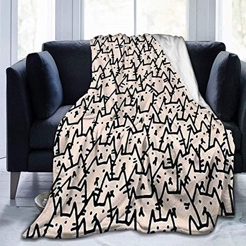 AEMAPE Manta de Lana con diseño de Silueta de Gato, Manta cálida, Manta Suave para sofá de Oficina en casa