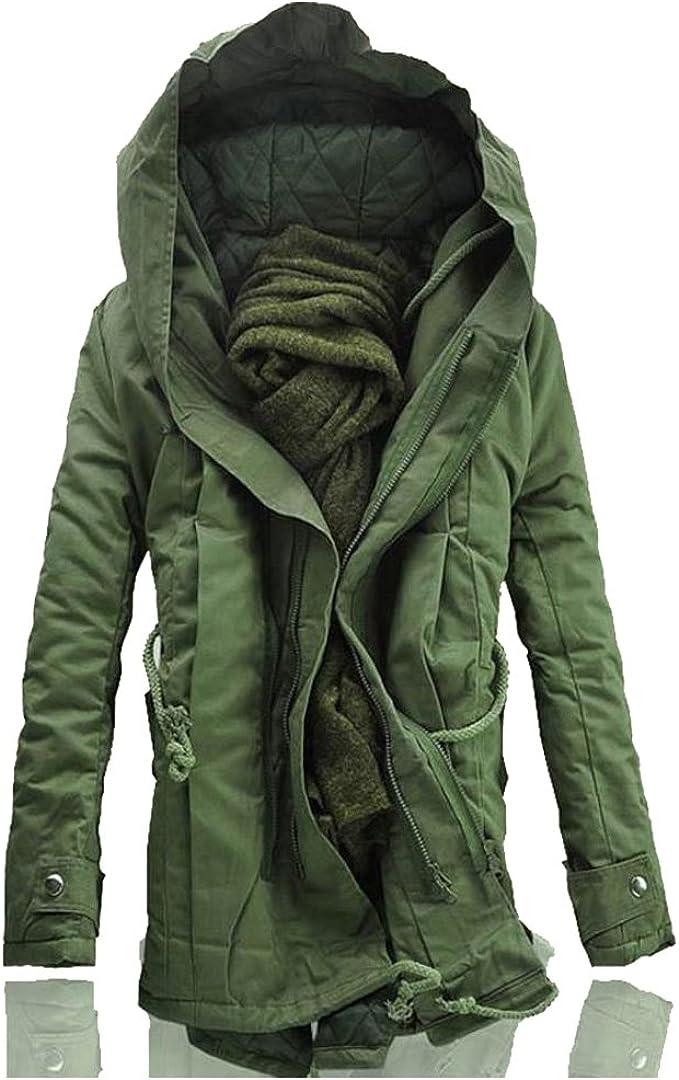 Men's Winter Thicken Zipper Cotton Parka Jacket Long Hooded Jacket Outwear Overcoat