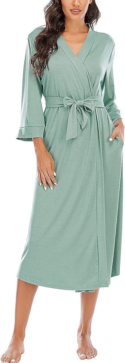 Women Kimono Robes Lightweight Cotton Long Robe Knit Bathrobe Soft Sleepwear V-Neck Loungewear for Women S-XXL