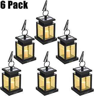 LVJING Solar Lantern Hanging Solar Lights Outdoor Decorative LED Solar Outdoor Lantern for Patio Landscape Yard with Warm White Flameless Candles Flickering (6 Pack)