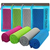DARCHEN [4 Pack] Cooling Towels for Neck Wrap, Cool Towel Super Chilly Towel for Hot Weather Workout Sports Gym Fitness, Ice Cold Snap Towel for Men Women and Dogs[40'x12']