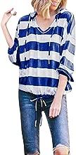 Women's Loose Casual 3/4 Sleeve Scoop Neck Pullover Striped T-Shirt Hoodies Lightweight Drawstring Sweatshirt