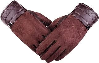 SGJFZD Men Gloves Workout Driving Gloves Riding Gloves Suede Warm Gloves Thermal Gloves (Color : Brown, Size : OneSize)