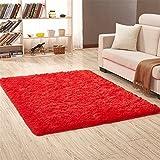 Ommda Alfombras Salon Pelo Largo de habitacion Rectángulo Modernas Rojo 160x250cm