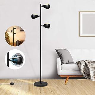 Bojim Lampadaire sur Pied Salon, 3 Spots E14 Orientables 360°, Lampadaire Led Industriel Noir Mat, Hauteur de 160 cm, Lamp...