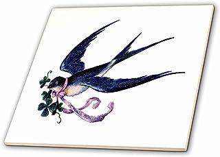 Embellishment Tile For Arts And Crafts Mixed Media Decorative Ceramic Square Tile 1 /& 34 Vintage Birds Design Mosaic Art Tile