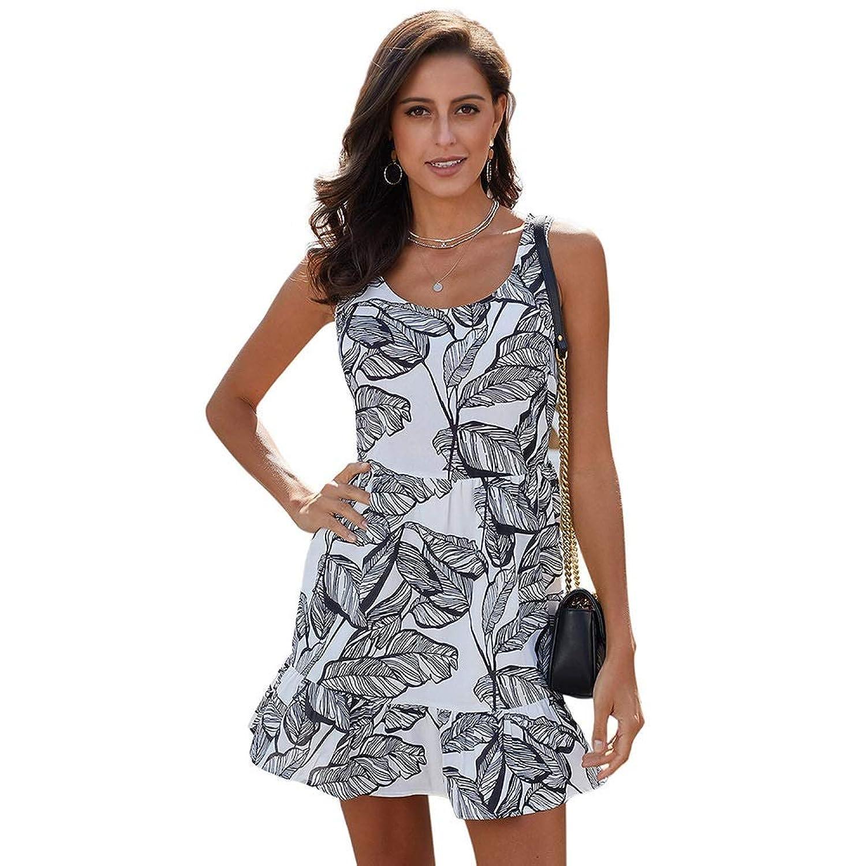 Man&Y プリント野生の緩いラウンドネックノースリーブハイウエストAラインスカートノースリーブスプライスポリエステルレジャー女性のドレス (Color : Black, Size : S)