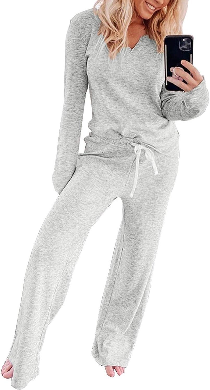 EVALESS Women Long Pajamas Sets Long Sleeve Top and Elastic Pants Sleepwear Home Loungewear