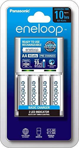 Panasonic AA And AAA Eneloop Overnight Basic Battery Charger With 4-Pack AA Ready-To-Use Ni-MH Rechargeable Batteries...