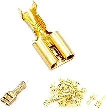 100pcs 4.8mm Crimp Terminal Female Spade Connector & Insulating Sleeve AWG 22~16 Gauge for Car Audio Speaker Brass Crimp Terminals Spade Electrical Crimp Connector Kit