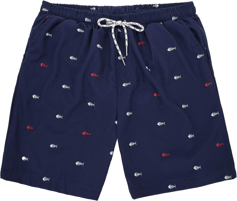 American Trends Men's Swim Trunks Beach Shorts Swimwear for Men Swimming Trunks with Mesh Line