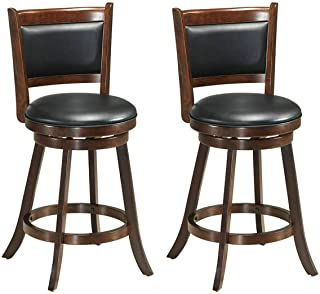 COSTWAY Bar Stools Set of 2,360 Degree Swivel, Accent Wooden Swivel Back Counter Height Bar Stool, Fabric Upholstered Design, PVC Cushioned Seat, Perfect for Dining and Living Room (Height 24