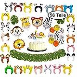 58 Teile Partydekoration für Kindergeburtstag, Tierstirnbänder für Party, Dschungel Dekoration...