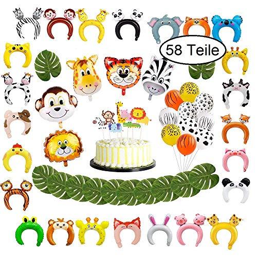 58 Teile Partydekoration für Kindergeburtstag, Tierstirnbänder für Party, Dschungel Dekoration mit Folienballons, Palmblättern und aufblasbaren Haarreifen, Stirnband Tiere, Partyset zur Deko Geburstag
