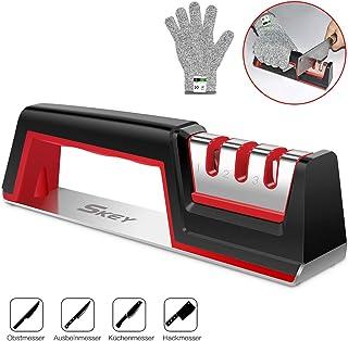 SKEY Afilador de cuchillos, afilador de cuchillos, afilador de cuchillos con 3 niveles, eficaz para cuchillos de acero inoxidable y cerámica, todos los tamaños, base antideslizante