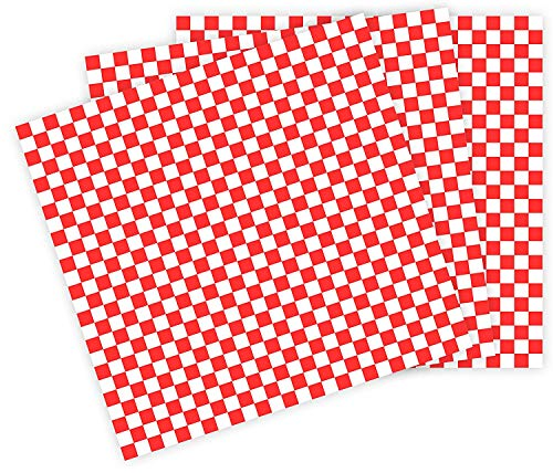 12x12 Grease Resistant Sheet, RED Checkered, Basket Liner, Wrap, 1000 Sheets Per Box, Brown Paper...