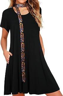Vestido Casual de Verano para Mujer con Bolsillos Camiseta Holgada y Transpirable con túnica oscilante Vestidos de Playa d...