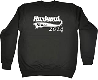 123t Funny Novelty Funny Sweatshirt - 2014 Husband Since - Sweater Jumper