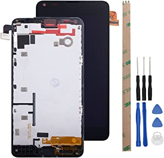 HYYT Replacement for Nokia Lumia 640 LCD Digitizer Screen and Touch Screen Assembly with Frame (Black)