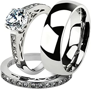Marimor Jewelry His & Her 3pc Stainless Steel 1.39 Ct Cz Bridal Set & Men's Classic Wedding Band