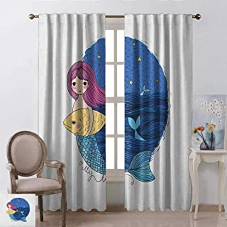 GUUVOR Fantasy Wear-Resistant Color Curtain Hand Drawn Style Mermaid Holding a Fish on Backdrop with Seascape at Night Time Waterproof Fabric W42 x L63 Inch Multicolor